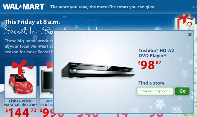 hd dvd toshiba HD A2 at walmart for 98 dollars