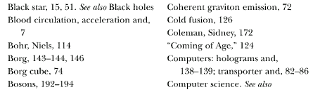 excerpt from second page of index to Physics of Star Trek