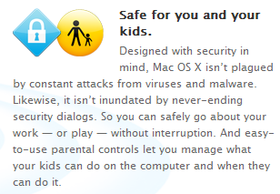 Apple still touts the Mac's supposed immunity to viruses as an advantage over Windows