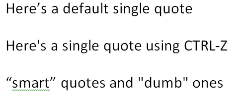 smart quotes in Microsoft Word